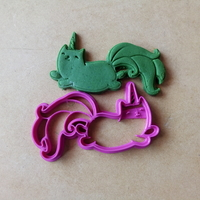 Small Cat unicorn cookies cutter 3D Printing 210988