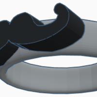 Small Mustache Ring 3D Printing 211413