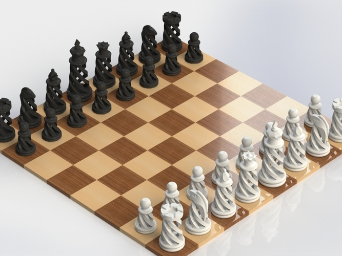 Spiral Chess Set (Large) 3D Print 21143