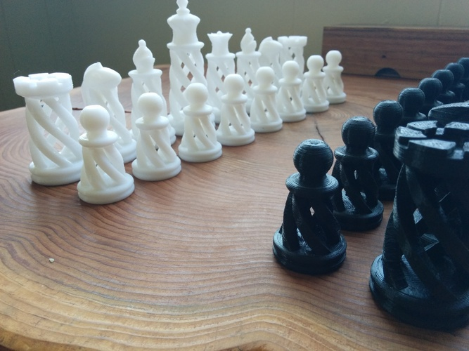 Spiral Chess Set (Large) 3D Print 21144