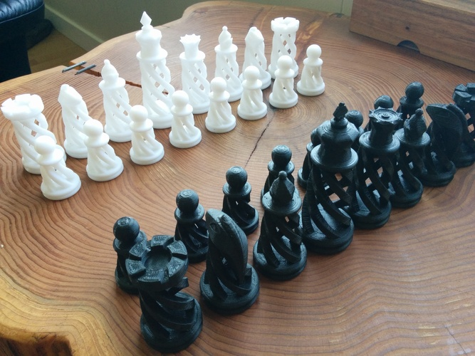 Spiral Chess Set (Large) 3D Print 21146
