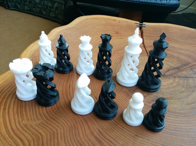 Spiral Chess Set (Large) 3D Print 21147
