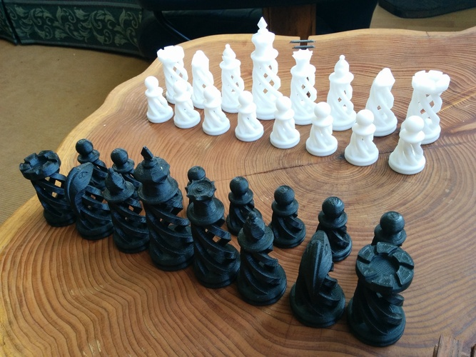 Spiral Chess Set (Large) 3D Print 21148