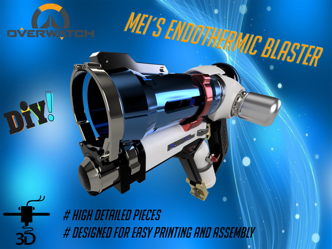 DIY Overwatch real size Mei Endothermic Blaster HQ printable kit 3D Print 211502
