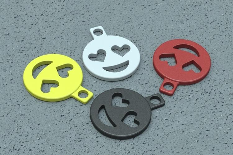 3d printed heart eyes emoji keychain addon by steven dakh pinshape
