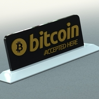 Small Bitcoin Accepted Here Sign 3D Printing 21230