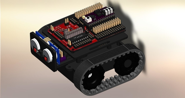 Medium ZUMO chassis + d.c. Motor Driver + RoboGuts™ + PICAXE 28X2 3D Printing 212493