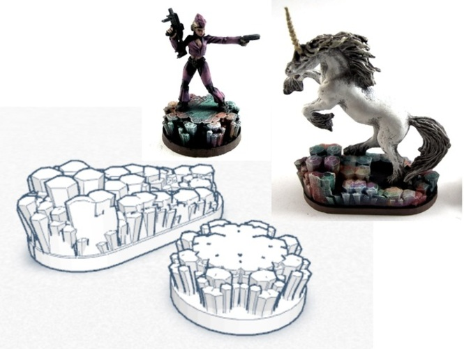 Magic Crystal 28mm Scale Miniature Bases 3D Print 2125