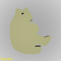 Small Bear Silhouette Key Chain 3D Printing 212951