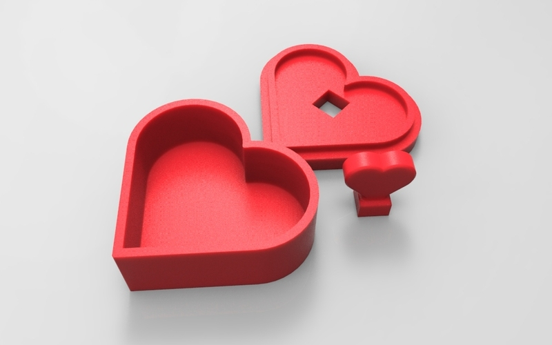 Heart Jewelry box V1.5 (updated) 3D Print 21323