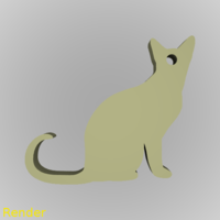 Small Cat Silhouette Key Chain 3D Printing 213316