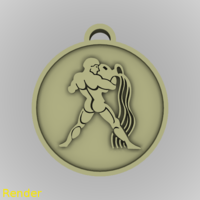 Small Aquarius Zodiac Medallion Pendant 3D Printing 213365
