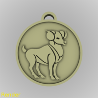 Small ​Aries Zodiac Medallion Pendant 3D Printing 213369