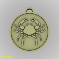 Small ​Cancer Zodiac Medallion Pendant 3D Printing 213610