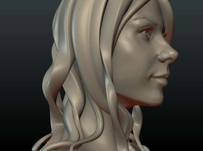 ​Woman Head and Hairstyle 3D Print 213737