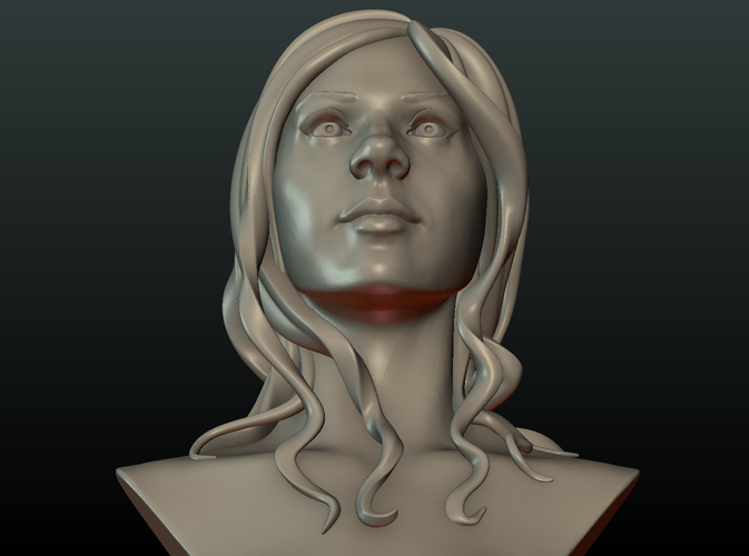 ​Woman Head and Hairstyle 3D Print 213738