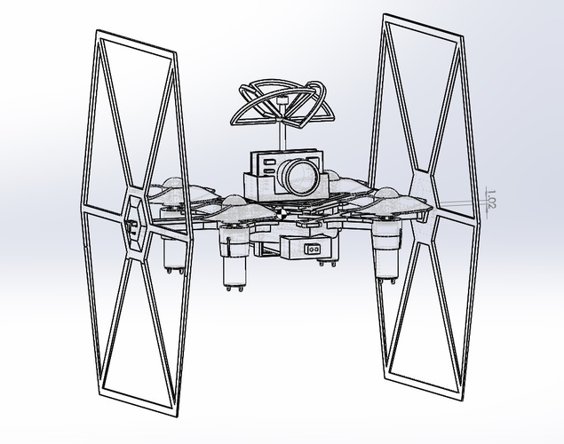 TINY TIE - 3D PRINTABLE INDOOR FPV TIE FIGHTER QUADCOPTER  3D Print 214023