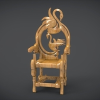 Small Unique Chair with a Goose motif model 3D Printing 214660