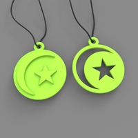 Small Moon & Star pendants 3D Printing 21511