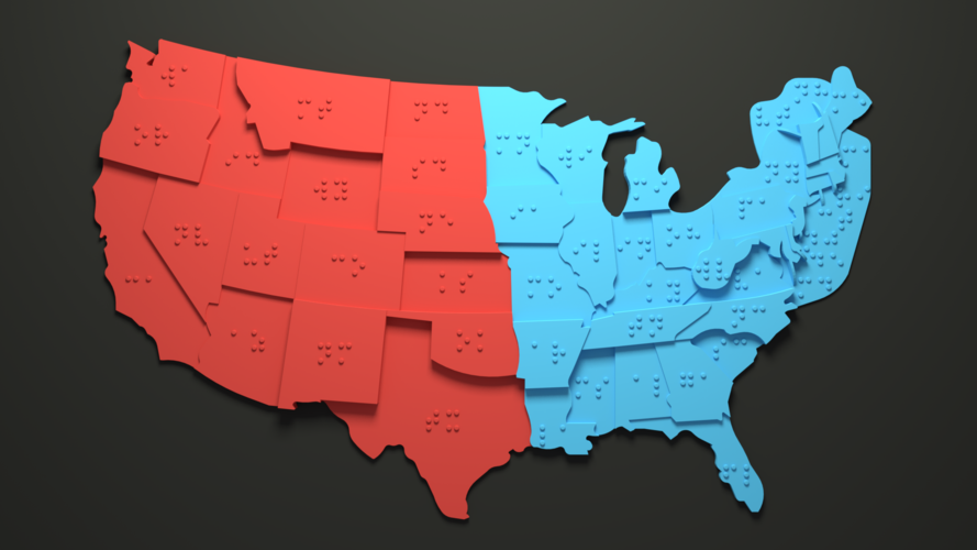 USA Braille Map: Feel The World 3D Print 215115
