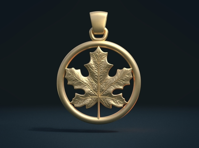 Maple Pendant 3D Print 215581