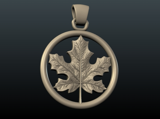 Maple Pendant 3D Print 215585