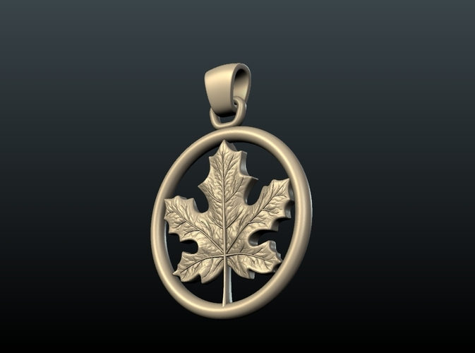 Maple Pendant 3D Print 215586