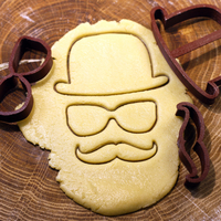 Small Set hat glasses mustache cookie cutter for professional 3D Printing 215713