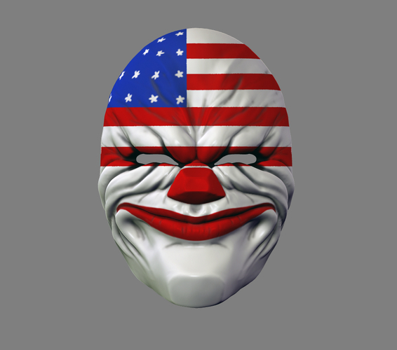 Payday the Heist Dallas Game Mask Cosplay Halloween STL File 3D Print 216051