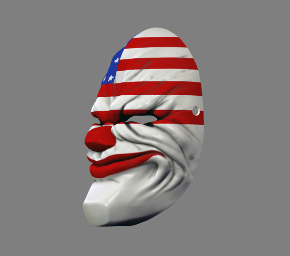 Payday the Heist Dallas Game Mask Cosplay Halloween STL File 3D Print 216053