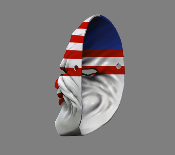 Payday the Heist Dallas Game Mask Cosplay Halloween STL File 3D Print 216055