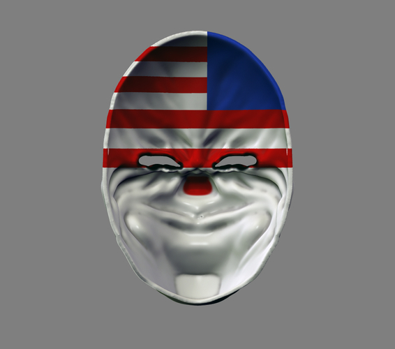 Payday the Heist Dallas Game Mask Cosplay Halloween STL File 3D Print 216056