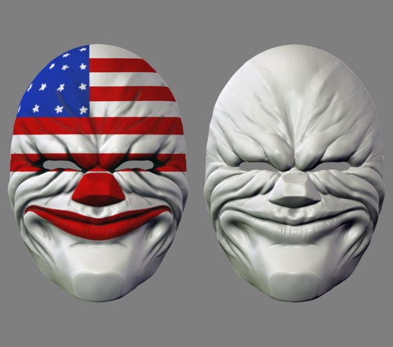 Payday the Heist Dallas Game Mask Cosplay Halloween STL File 3D Print 216057