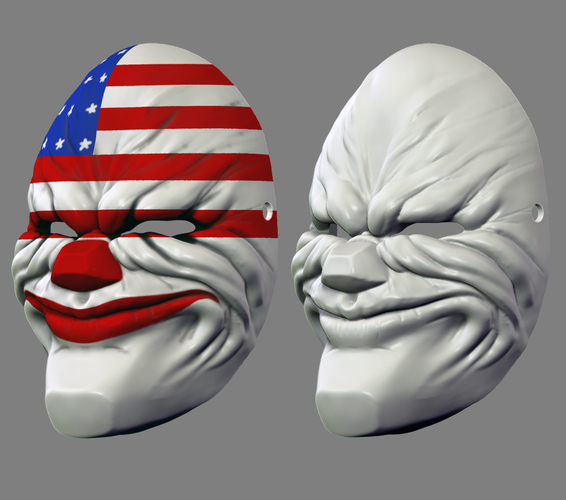 Payday the Heist Dallas Game Mask Cosplay Halloween STL File 3D Print 216058