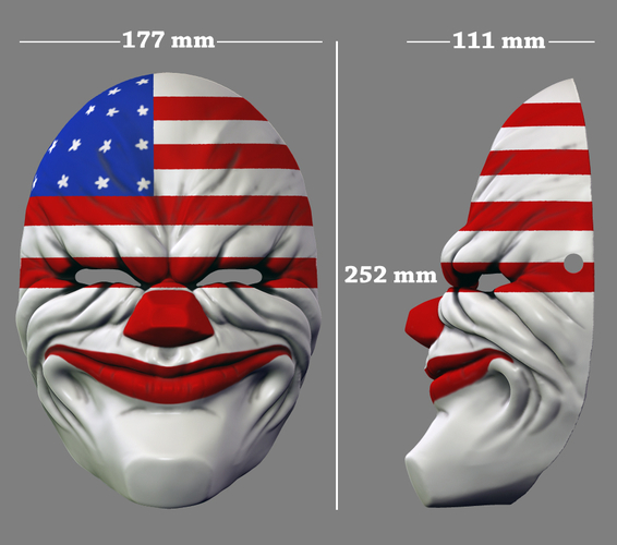 Payday the Heist Dallas Game Mask Cosplay Halloween STL File 3D Print 216059