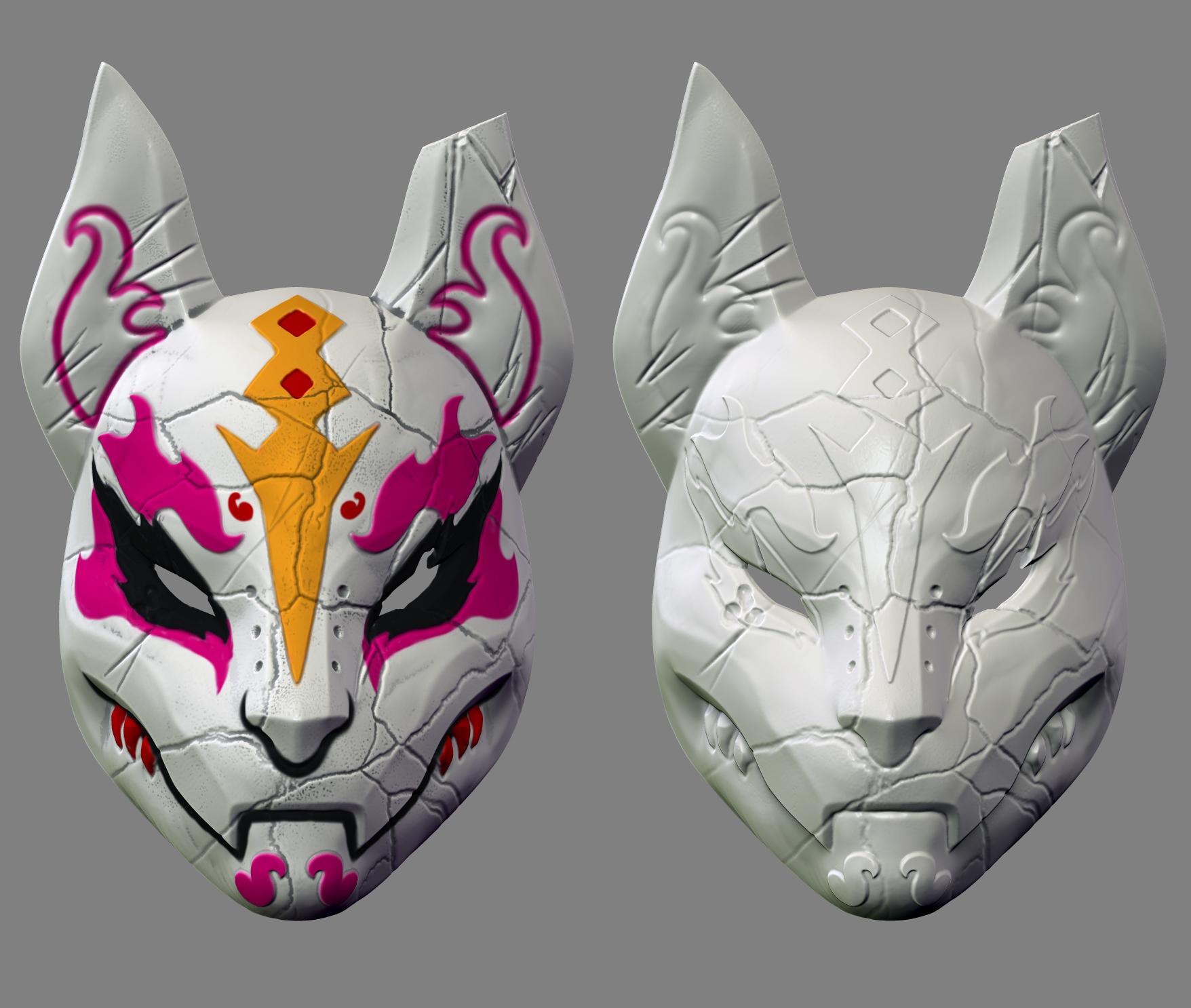 Custom Kitsune Drift Mask FOX TAIL INCLUDED