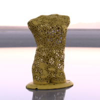 Small Male torso voronoi style 3D Printing 216290