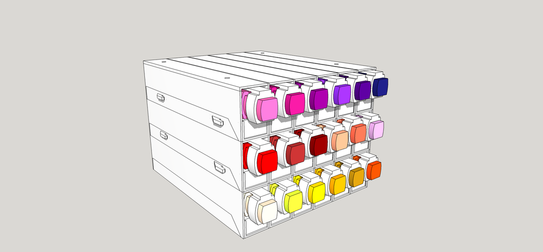 Art Pens Horizontal Stand Organizer for Graph'it and Promarker 3D Print 216581