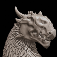 Small Dragon Bust 3D Printing 216611