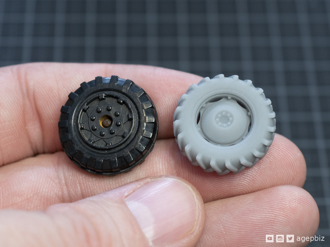Detailed Tractor Wheels - Diecast Toy Restoration 3D Print 217247
