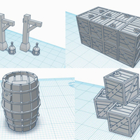 Small 28mm Scale Scatter Terrain - Gas Lantern Posts, Crates & Cask 3D Printing 217420