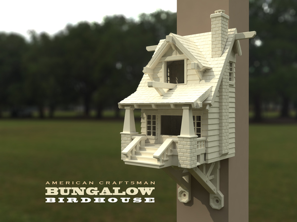 Medium the American Craftsman Bungalow Birdhouse 3D Printing 21825