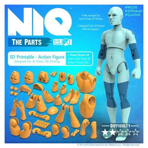 NiQ, The 3D-Printable Action Figure - by 3DKitbash.com 3D Print 21832