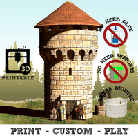 Small Modular Covered Watchtower - WarGames - Terrain -building 3D Printing 218371