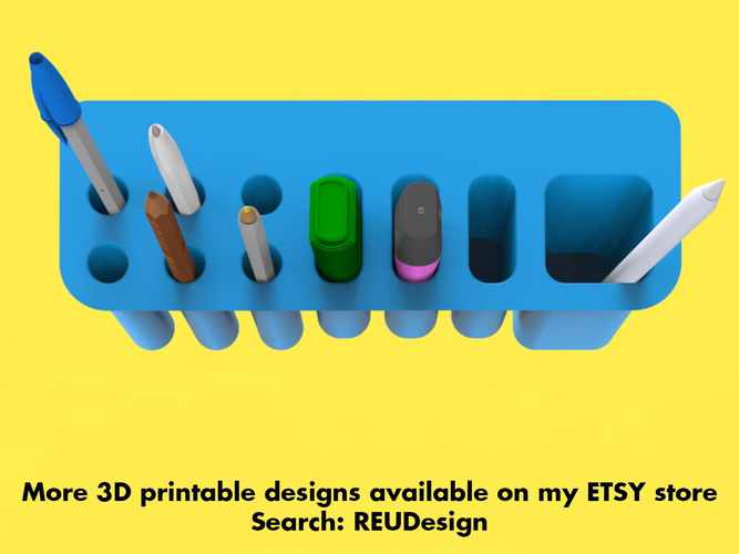Desk Organiser Pen Holder - Monitor Mounted 3D Print 218996