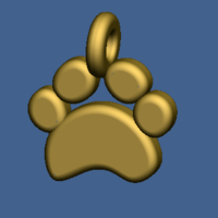 Small Puppy paw pendant 3D Printing 219413