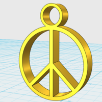 Small Peace Sign Pendant 3D Printing 21951