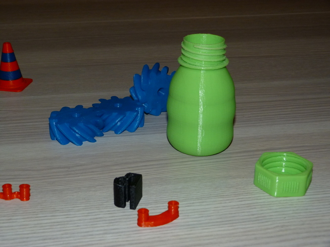 Small Bottle with safety cap ( left hand thread ) 3D Print 21999