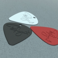 Small Guitar Pick with Hole for Keychain (Ted Nugent) 3D Printing 22038