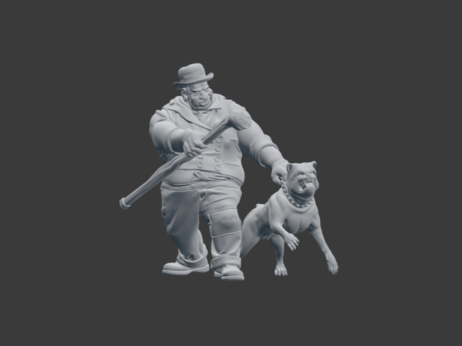 Victorian Tough with dog 3D Print 220840